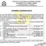 Jammu University Academic Calendar 2020-21.