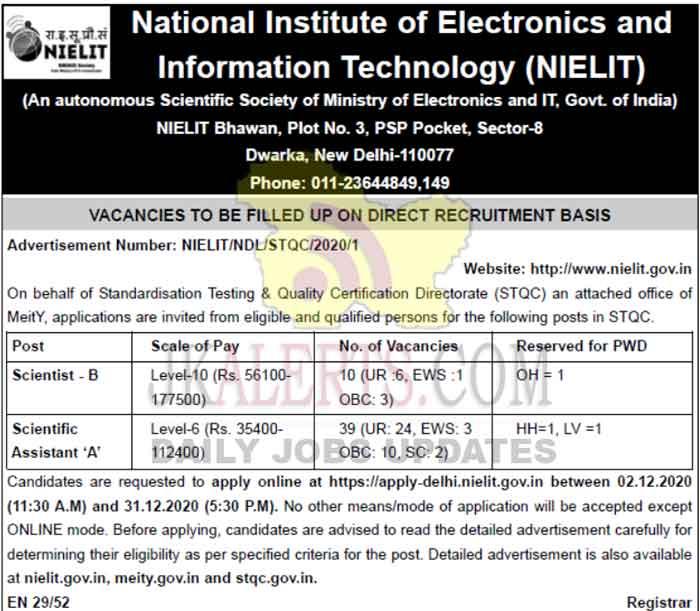 NIELIT, Delhi Jobs Recruitment 2020