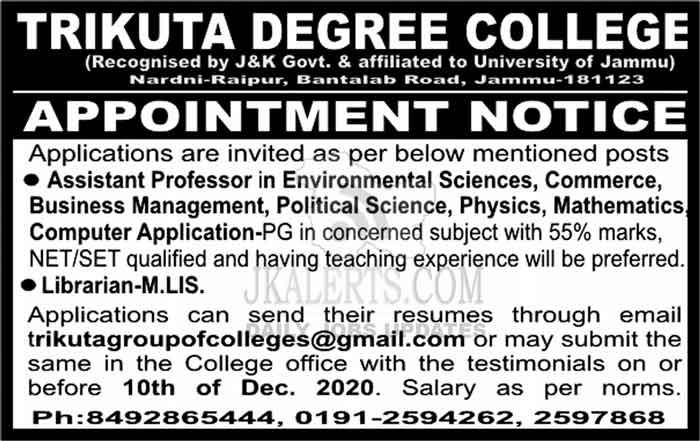 Trikuta College of Education Jammu Jobs Recruitment 2020.