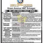 Dubai Grand School Srinagar Jobs Recruitment 2020.