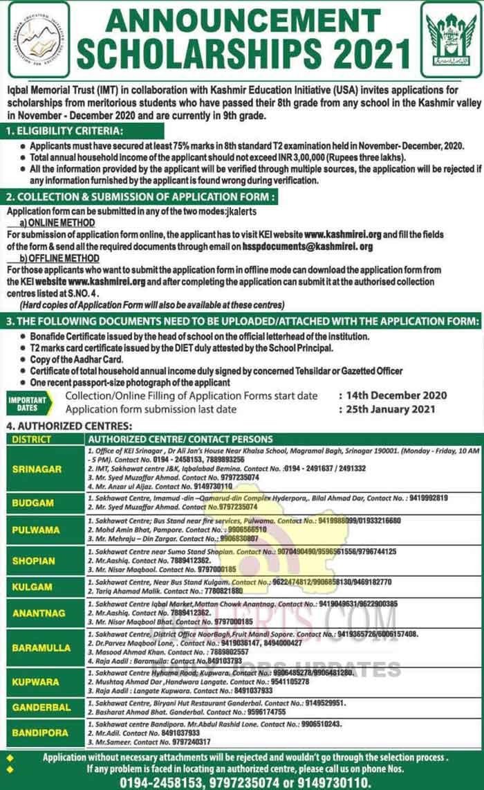 Kashmir Education Trust KEI Scholarship 2020 21.