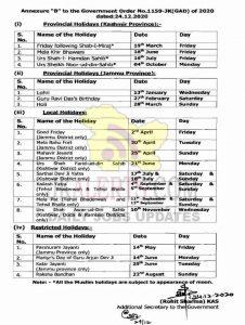 J&K Govt Holidays Calendar 2021.