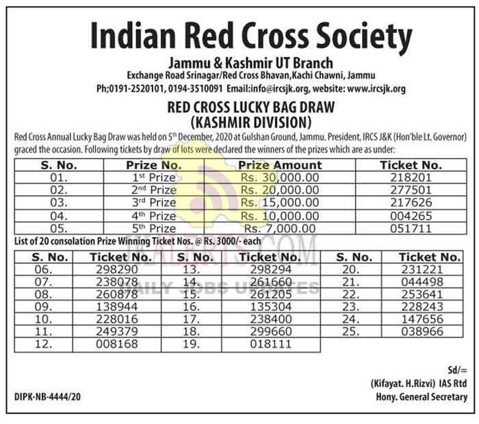 J&K Red Cross Lucky Bag Draw (Kashmir Division).
