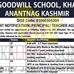 Army Goodwill School Khanbal Srinagar kashmir Jobs Recruitment 2021