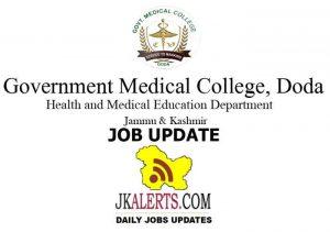 GMC Doda Jobs Recruitment 2021 Senior Resident posts.