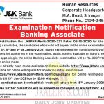 JK BANK notification , JK BANK Banking Associate Examination update, JK Bank updates,  JK BANK Banking Associate exam notification,