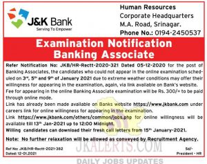 JKBANK Banking Associate Examination Notification.