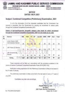 JKPSC Combined Competitive (Preliminary) Exam 2021.
