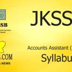 JKSSB Fresh Accounts Assistant (Finance) Syllabus.