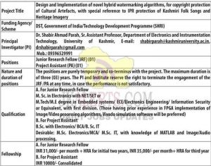 Junior Research Fellow (JRF) & Project Assistant jobs kashmir university