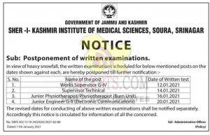 SKIMS Postpone written examinations.