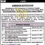 Cluster University of Jammu admission notification session 2020-21.