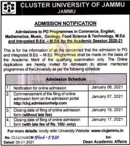 Cluster University of Jammu admission notification session 2020-21.