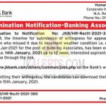 JK BANK Banking Associate last date extended.