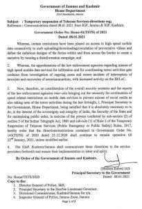 4G Internet Ban Extended in J&K.