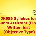 JKSSB Accounts Assistant (Finance) Syllabus.