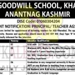 Army Goodwill School Khanbal Jobs Recruitment 2021.