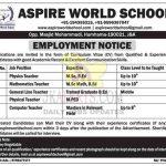 Aspire World School Budgam Jobs Recruitment 2021.