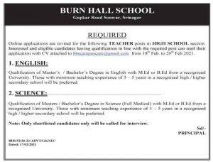 Burn Hall School Srinagar Jobs Recruitment 2021.