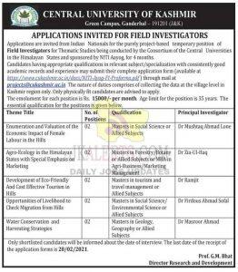Central University Kashmir Jobs Recruitment 2021.