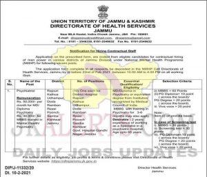 J&K DHS Jammu NMHP jobs recruitment 2021.