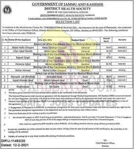 J&K PMBJAK Pharmacist Selection List.
