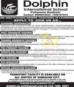 Dolphin International School Pulwama Kashmir Jobs Recruitment 2021.