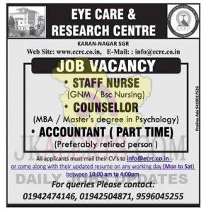 Accountant, Counsellor, Staff Nurse Jobs in Srinagar.