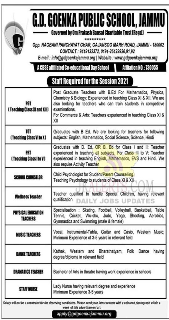 GD Goenka Jobs Recruitment 2021.