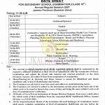 JKBOSE Class 10th Date Sheet Summer Zone Jammu.