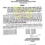 JKSSB Edit option for candidates applied online for various posts.