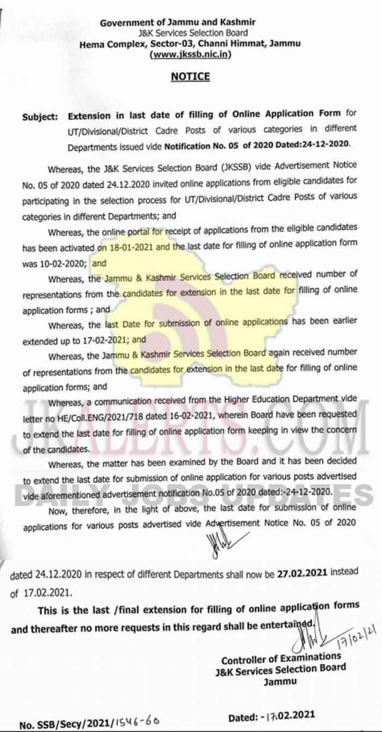 JKSSB Extension notification 05 of 2020 580 Posts.