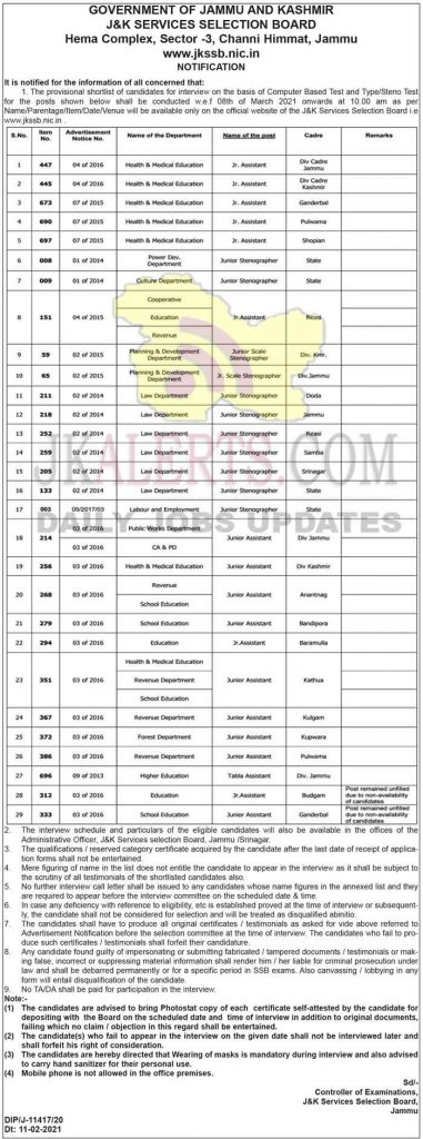 JKSSB Interview Schedule for various posts.