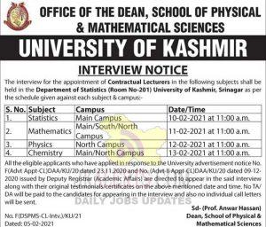Kashmir University Lecturers interview schedule.