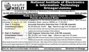 NIELIT Jammu Jobs Recruitment 2021.