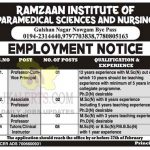 Ramzaan Institute of Paramedical Science and Nursing Srinagar Jobs.