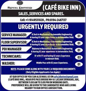 SERVICE MANAGER SRINAGAR JOBS, FLOOR SUPERVISOR SRINAGAR JOBS, PDI MANAGER SRINAGAR JOBS, TECHNICIANS SRINAGAR JOBS, Royal Enfield Srinagar Jobs, Royal Enfield Cafe Bike Inn Srinagar jobs, Cafe Bike Inn Srinagar jobs, Cafe Bike Inn Srinagar Recruitment
