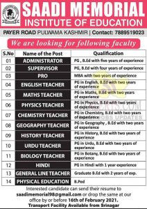 Saadi Memorial Investiture of Education Pulwama Srinagar Jobs