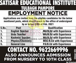 Satisar educational Institute Pampore Jobs Recruitment 2021.