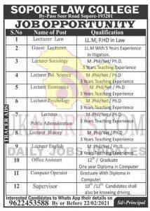 Sopore Law College Jobs Recruitment 2021.