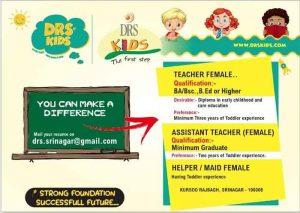 DRS Kids Srinagar Jobs Recruitment 2021.