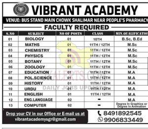 Vibrant Academy Srinagar Jobs Recruitment 2021.