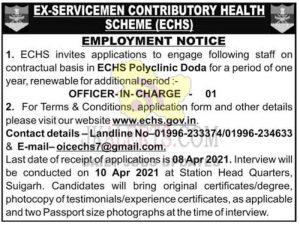 ECHS Polyclinic Doda jobs recruitment 2021.