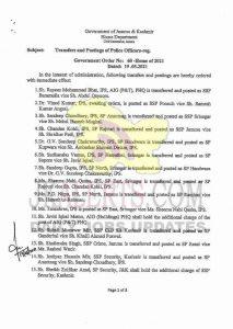 25 Police officers transferred in J&K.