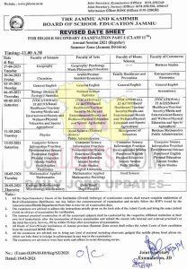 JKBOSE Class 11th Date Sheet Jammu 2021 (JKBOSE Class 11th Revised Date sheet Summer Zone Jammu Division).