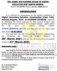 JKBOSE Class 12th Xerox/Re-Evaluation Notification Annual Regular Kashmir Division.
