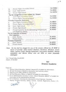 JKBOSE Revised fee structure for different services offered by Board to be effective from 01-04-2021.