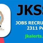 JKSSB Jobs Recruitment 2021 2311 posts