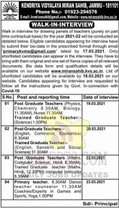 KVS Miran Sahib Jobs Recruitment 2021