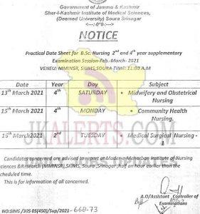 SKIMS B.Sc Nursing Practical Date Sheet.